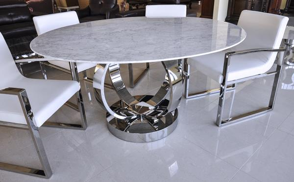 Details About Dining Table Cerchio Modern Round White Volakas Marble Dining Table