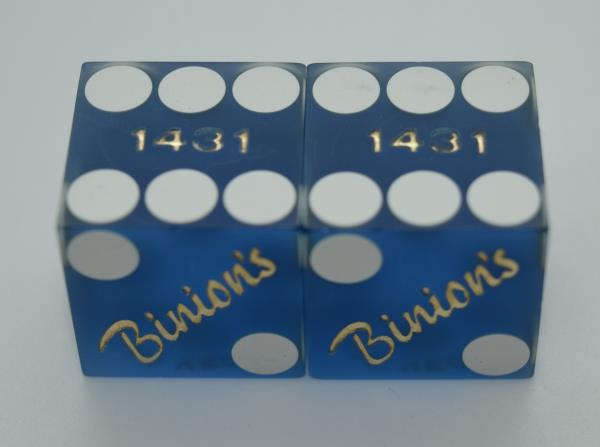 Retired CASINO DICE Binions Hotel  Pair Used Matched Dice