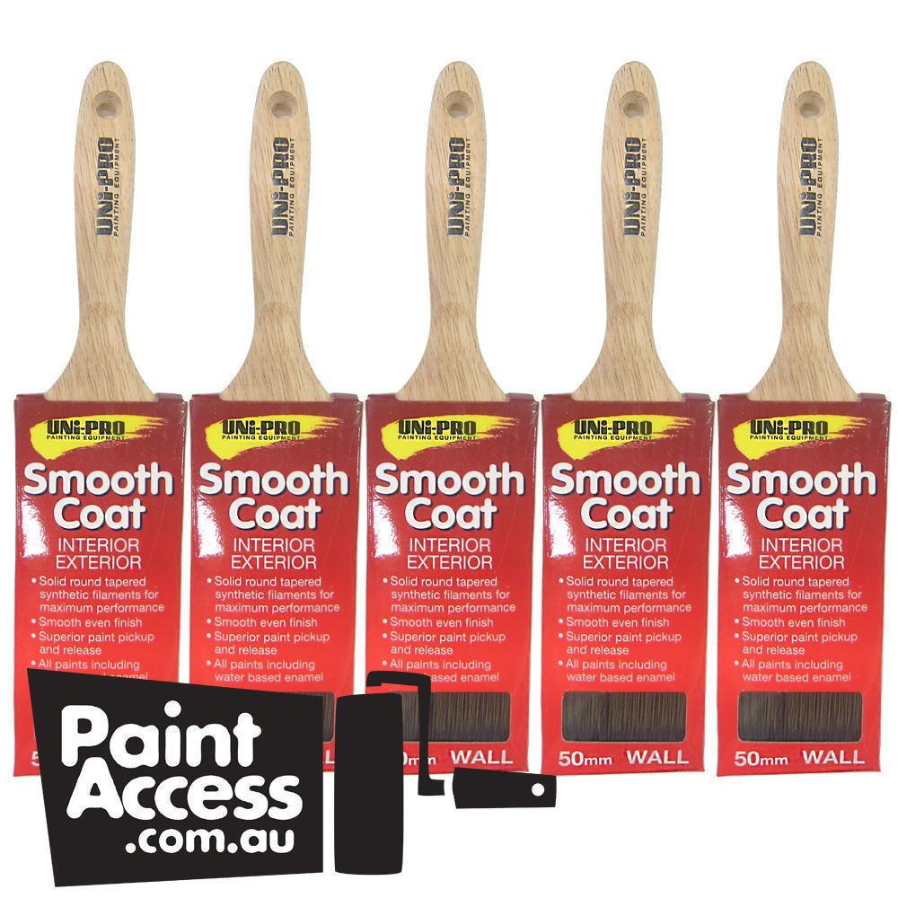 25 mm Paint Brushes//Pack of 5 Uni-Pro Smooth Coat Wall Brushes