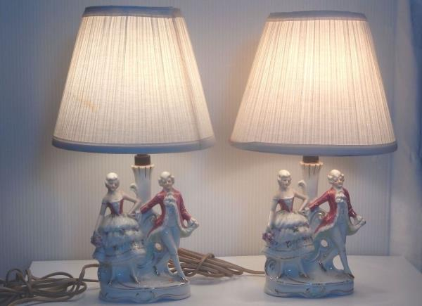 Antique Figural Matched Pair Of Porcelain Lamps Germany Signed Cader 17188 Antiques Lamps