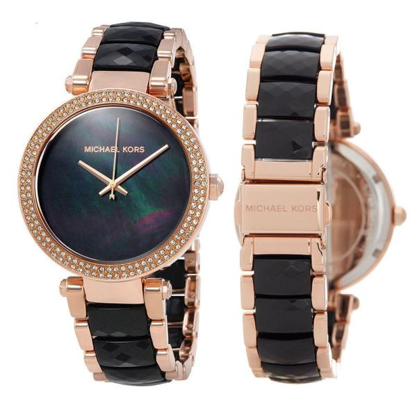 53fcad76898 Details about New Michael Kors MK6414 Women Parker Rose Gold Tone Black  Acetate Bracelet Watch