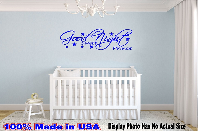 Good Night Sweet Prince Vinyl Decal Star Wall Quote Baby Bed Time