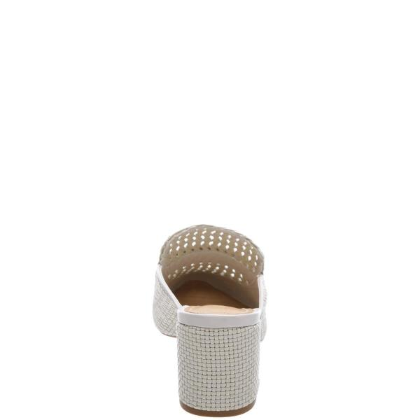 42bf8f55406 Mid heel woven oxford mule. 2 1 2 inch heel. Leather insole. Leather  outsole. Upper  tresse leather. Color  white