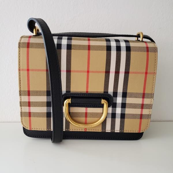 Details about NEW and Authentic Burberry 2019 Small Vintage Check Leather D ring Bag