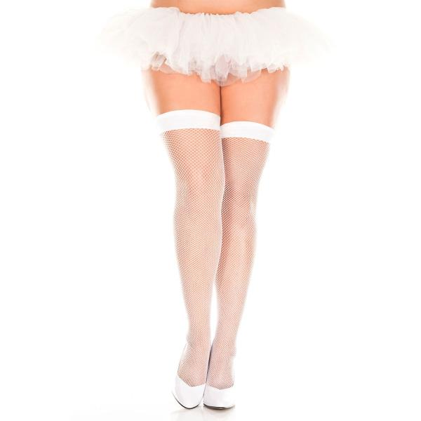 Details about Unisex Fishnet Thigh High Stockings with Band Top White