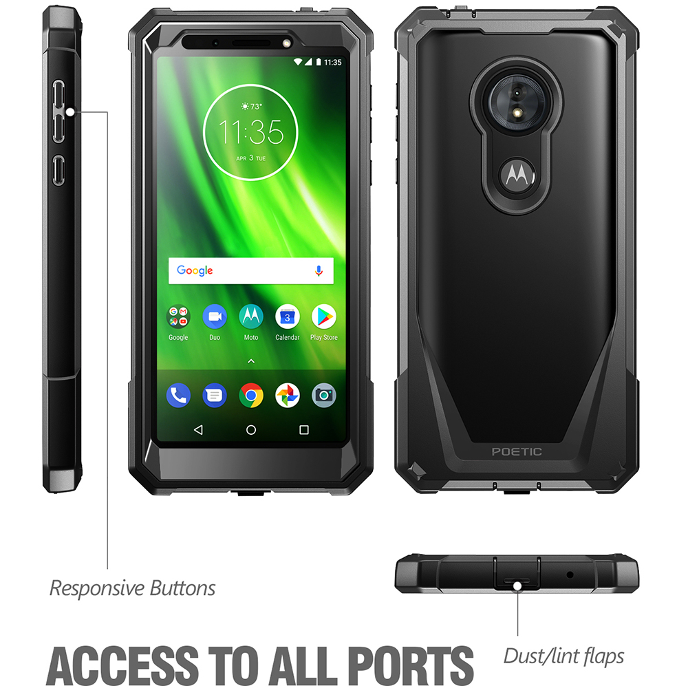 reputable site b3e50 16552 Details about For Moto G6 Play Poetic Guardian w/ Built-in-Screen Protector  Case Cover Black