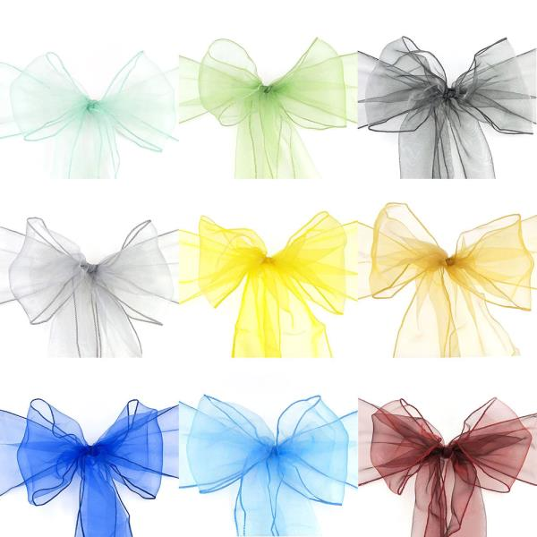 Details about New Organza Sash Sashes Band Chair Cover Bow Tie Bows Ribbon Tulle Wedding Party