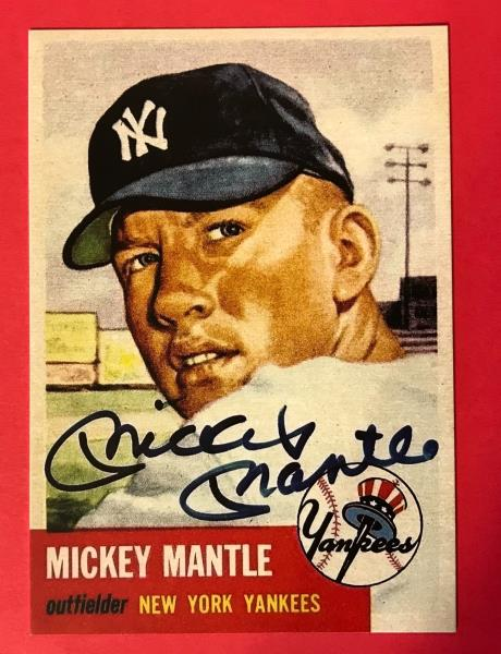 Details About Mickey Mantle 1953 Topps 82 Reprint Baseball Card W Autographed Front