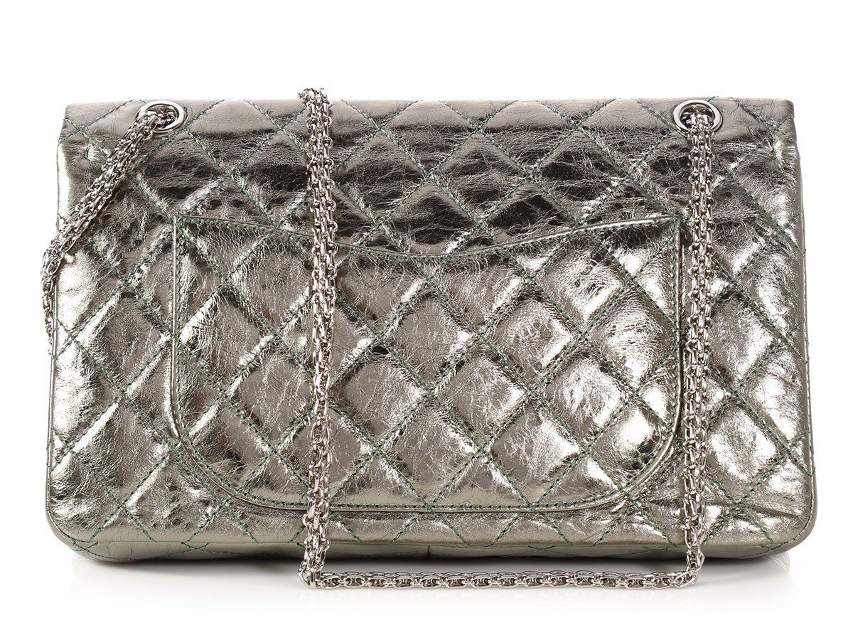 c164aa03215e CHANEL 2008 Metallic Green Distressed Quilted Calfskin Reissue 227 Bag Purse