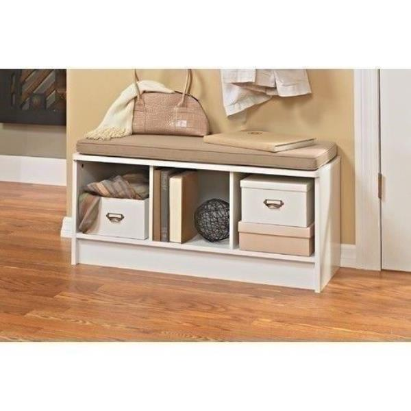 Miraculous Details About White Finish Wooden Shoe Storage Bench Cubbies Cushion Entryway Organizer Seat Ncnpc Chair Design For Home Ncnpcorg