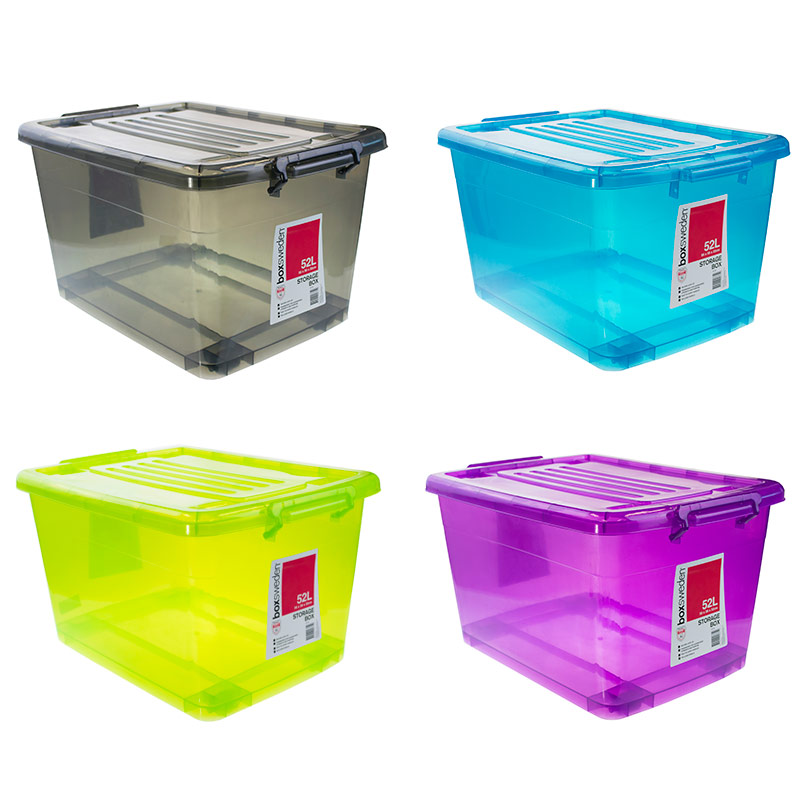 12 X 52l Heavy Duty Large Plastic Storage Boxes With Lid