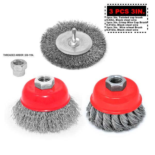 4 X 5 Inch Knotted Wire Cup Brush carbon steel rust removal with 5//8-11 Thread