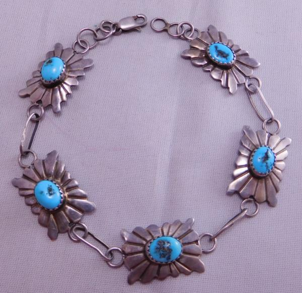 Native American Made Turquoise Stamped  Bracelets