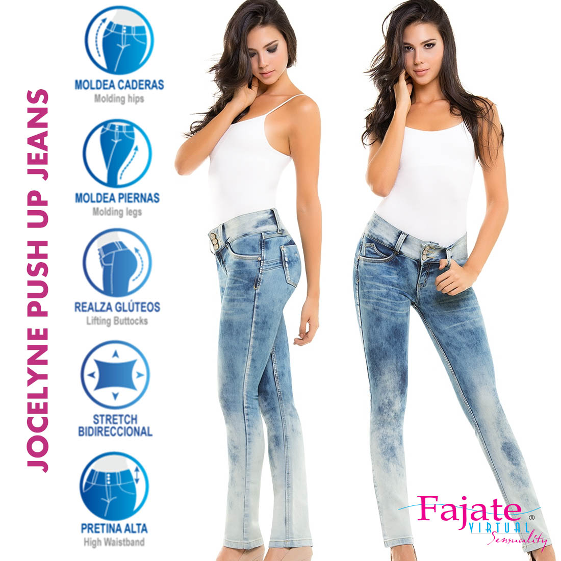 Sexy Jeans Hip Push Up Butt Lifting High Waist Stretchy Plus Size Colombian Pants Vestido Skinny Denim Jeans Bottoms