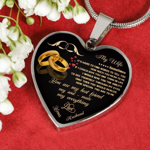 My Wife Heart Pendant Necklace From Husband Anniversarywedding
