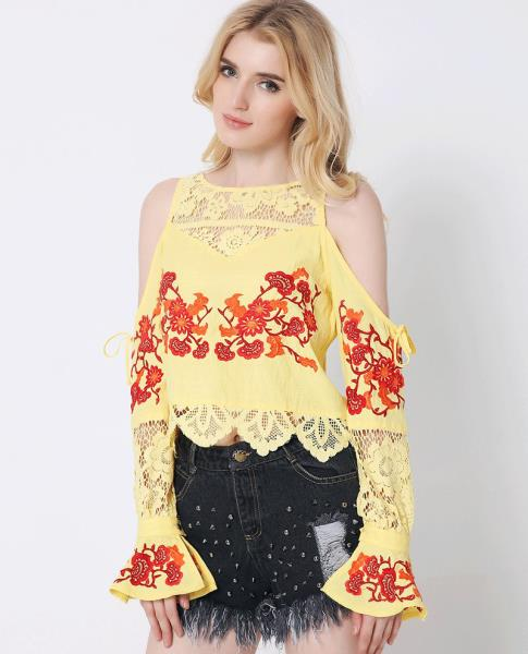 6ba49b83492fe8 Yellow embroidered lace open shoulder long sleeve blouse top 3344 Size M L  XL