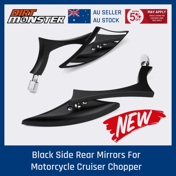 Motorcycle Black Spear Blade Mirrors Fit Harley Davidson Sportster Dyna Softail