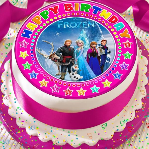 Frozen Characters Precut Edible Happy Birthday Cake Topper