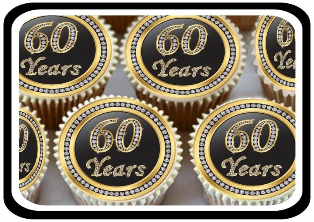 60th wedding anniversary party decorations 30 gold 60th birthday anniversary edible cupcake toppers 1175