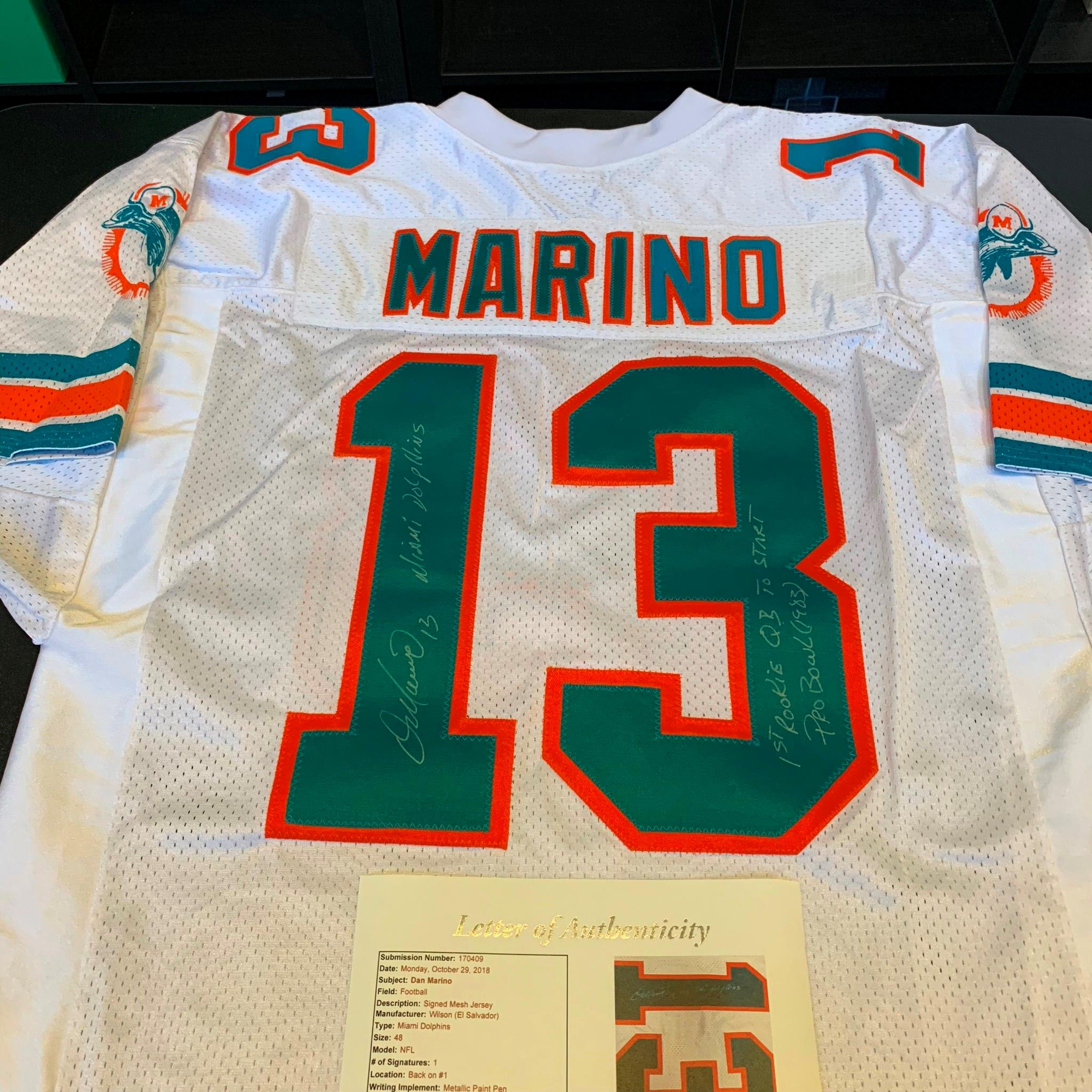Dan Marino Signed Heavily Inscribed Miami Dolphins Game Model Jersey ... 167ec9868