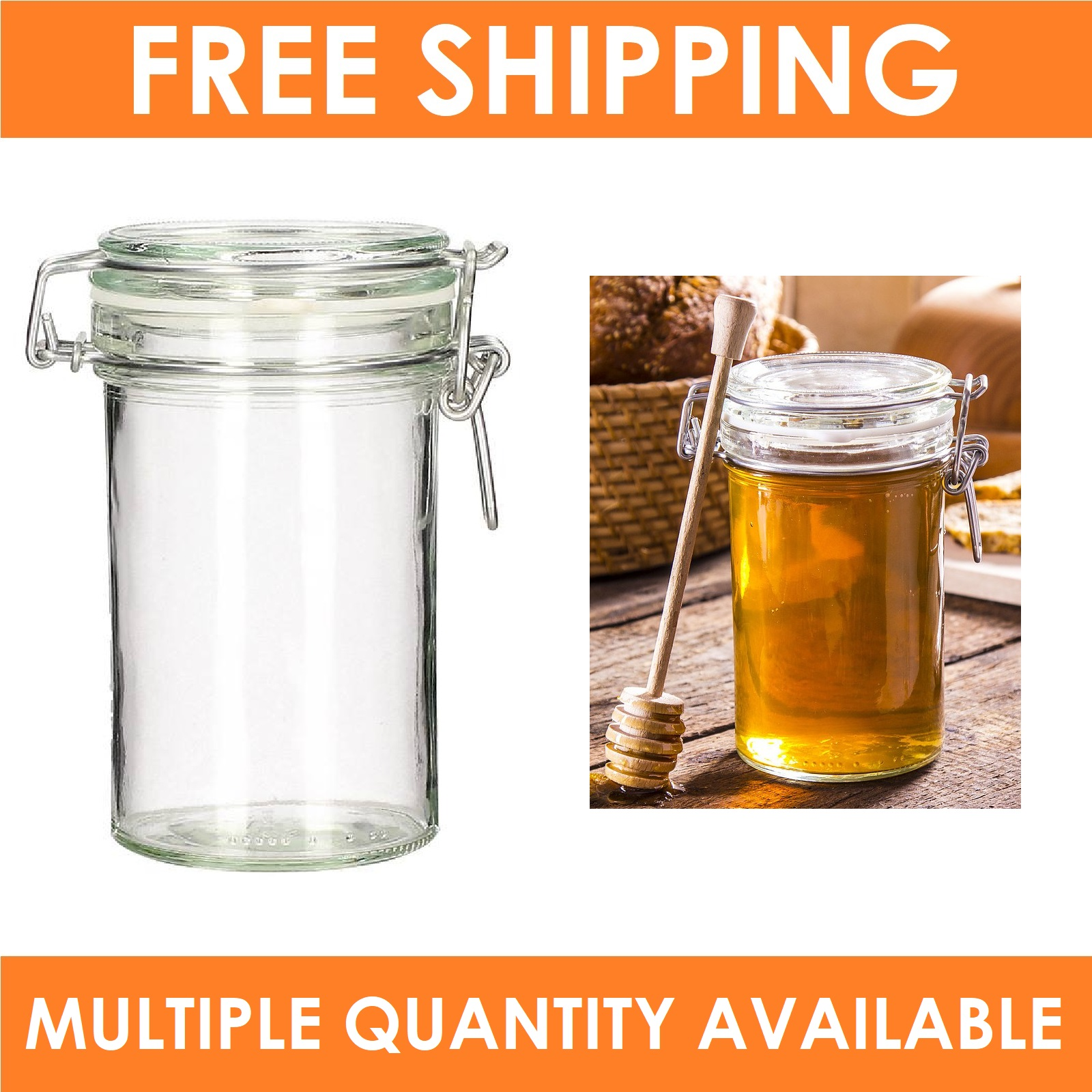 Mini Clip Glass Storage Jar 70ml Wedding Favours Kitchen Herb Spice ...