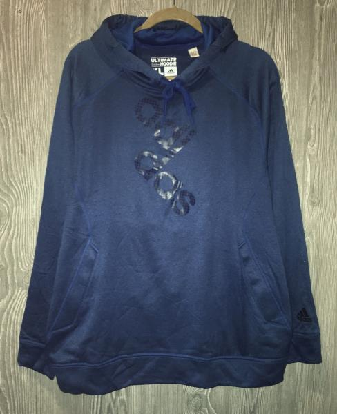 ADIDAS Ultimate Pullover Logo Fleece Hoodie Blue Beauty NEW