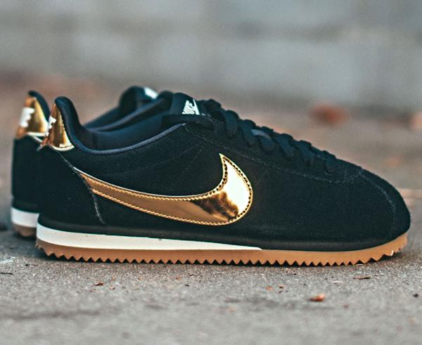 best website a6cd9 0e1f1 Details about NIKE Cortez Suede Black Gold Sneakers new Size 6 7 8 9 Womens  Shoes max air 2018
