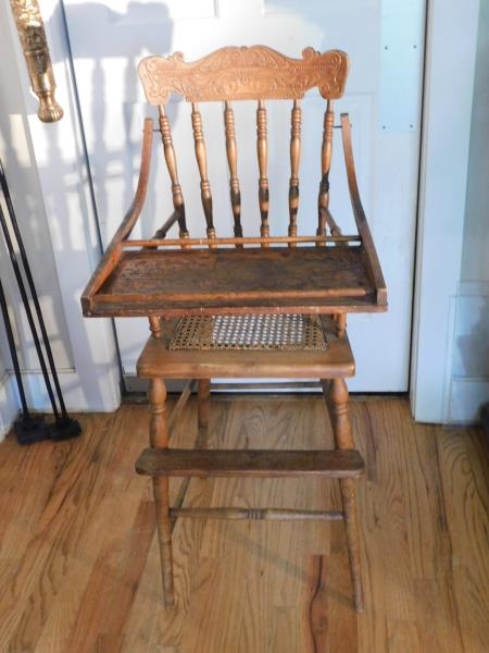 Details About Old Wooden High Chair With Cane Seat Footrest And Movable Tray