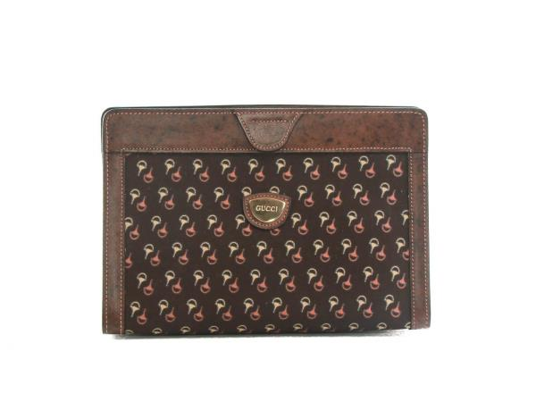 2a6ce98dbe9db2 Authentic 80s Vintage Gucci brown toiletary clutch horsebit print ...