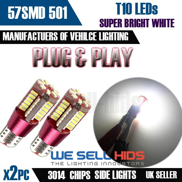 T10 w5w 501 DEL Canbus 57 SMD CREE Bright White Car Interior Side Light Bulbs