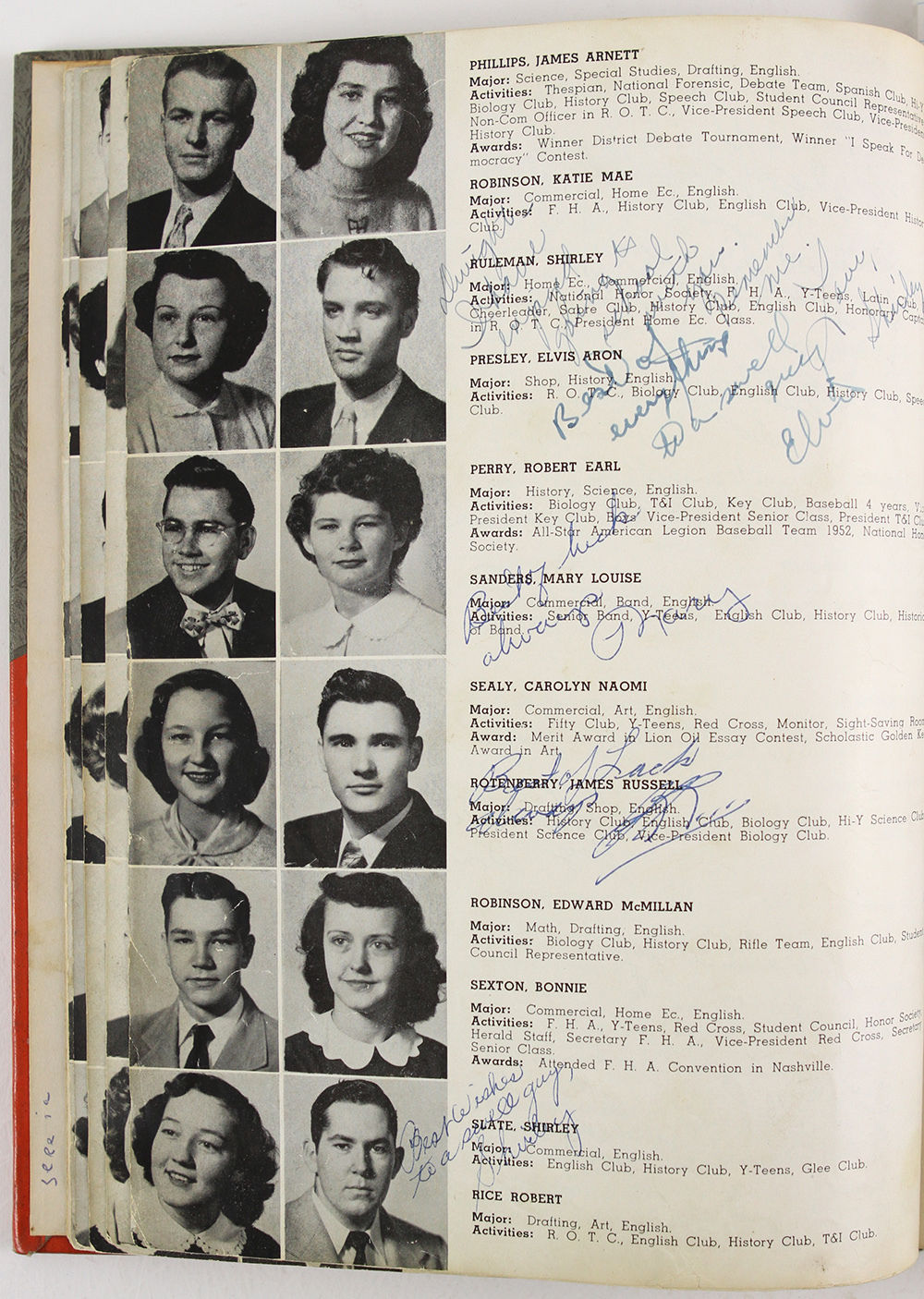 Rare Elvis Presley Signed Autographed 1953 High School Yearbook With