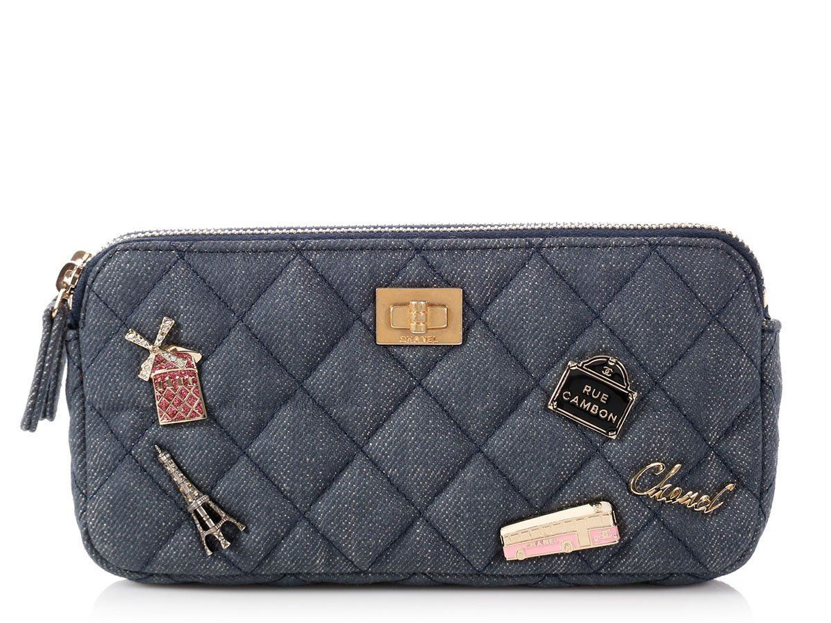 cb149f0aeab31 CHANEL 2018 Quilted Denim Charms Wallet on a Chain Bag Purse EUC