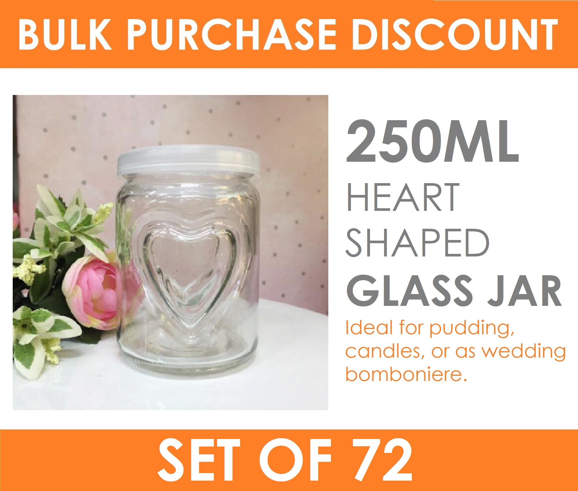 72 x 250ml Small Heart Glass Jars with Lid Candle Making Pudding ...