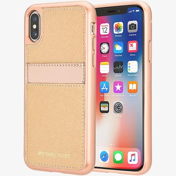 new arrival bd348 9095c Details about Michael Kors Saffiano Leather Pocket Case for iPhone X - Rose  Gold