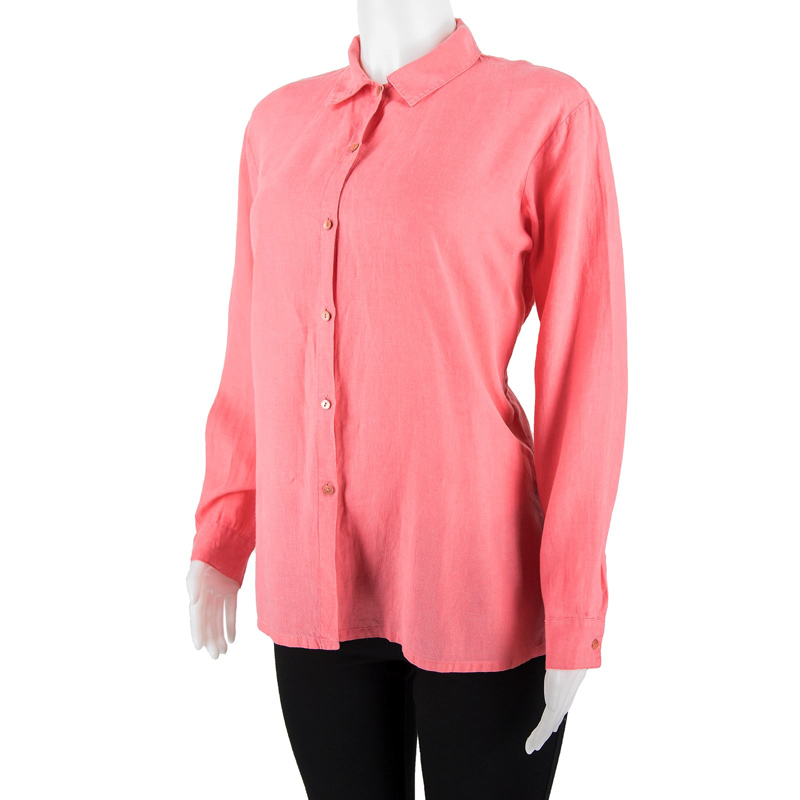 b7b7f6752 Eileen Fisher Coral Linen Side Slit Collar Long Sleeve Button Down Blouse  Size S