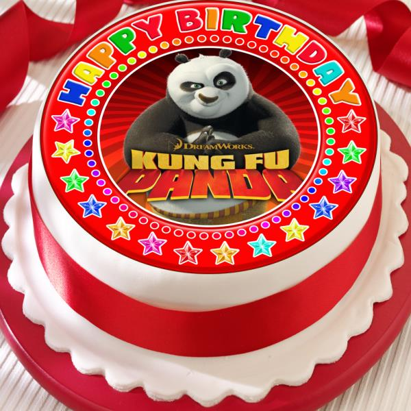 Kung Fu Panda Red Happy Birthday 75 Inch Precut Edible Cake Topper