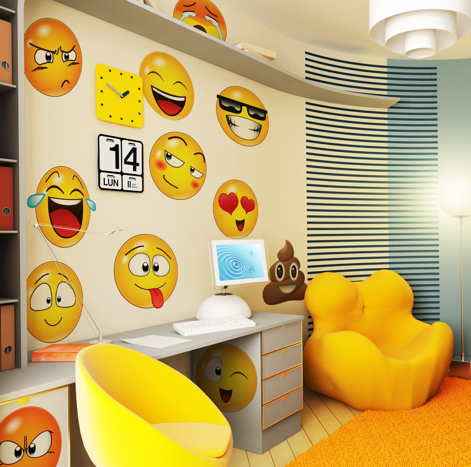 Large Emoji Faces Wall Decal Sticker by Stickerbrand #6052 | eBay