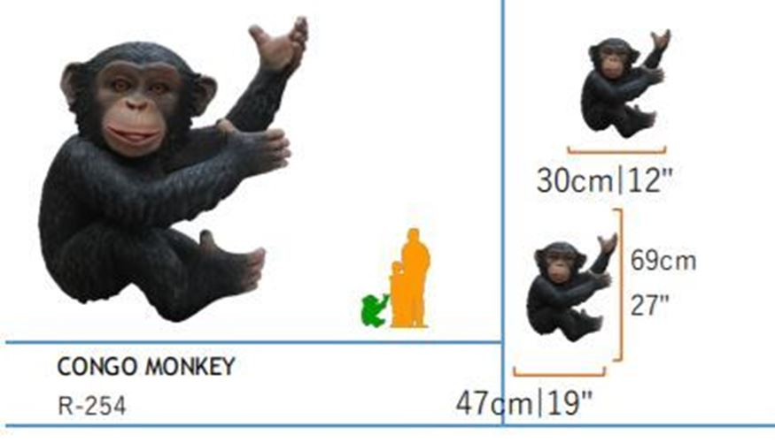 Details about Monkey Chimpanzee Life Size Statue Congo Animal Prop Resin  Decor Display