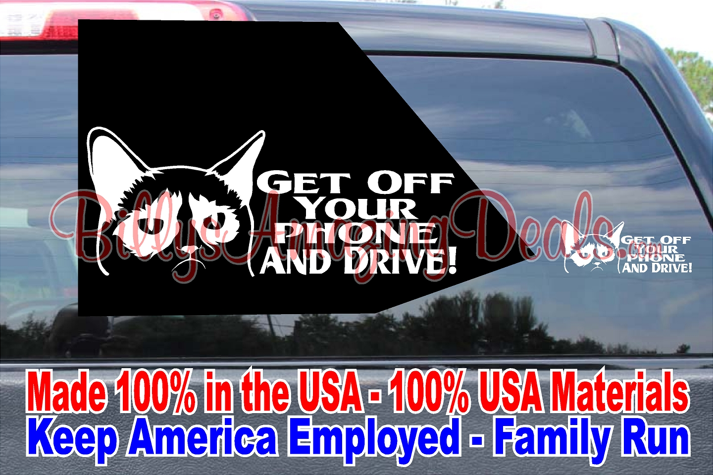 Grumpy Cat Get Off Your Phone Drive Vinyl Decal Funny Car - Cat custom vinyl decals for car windows