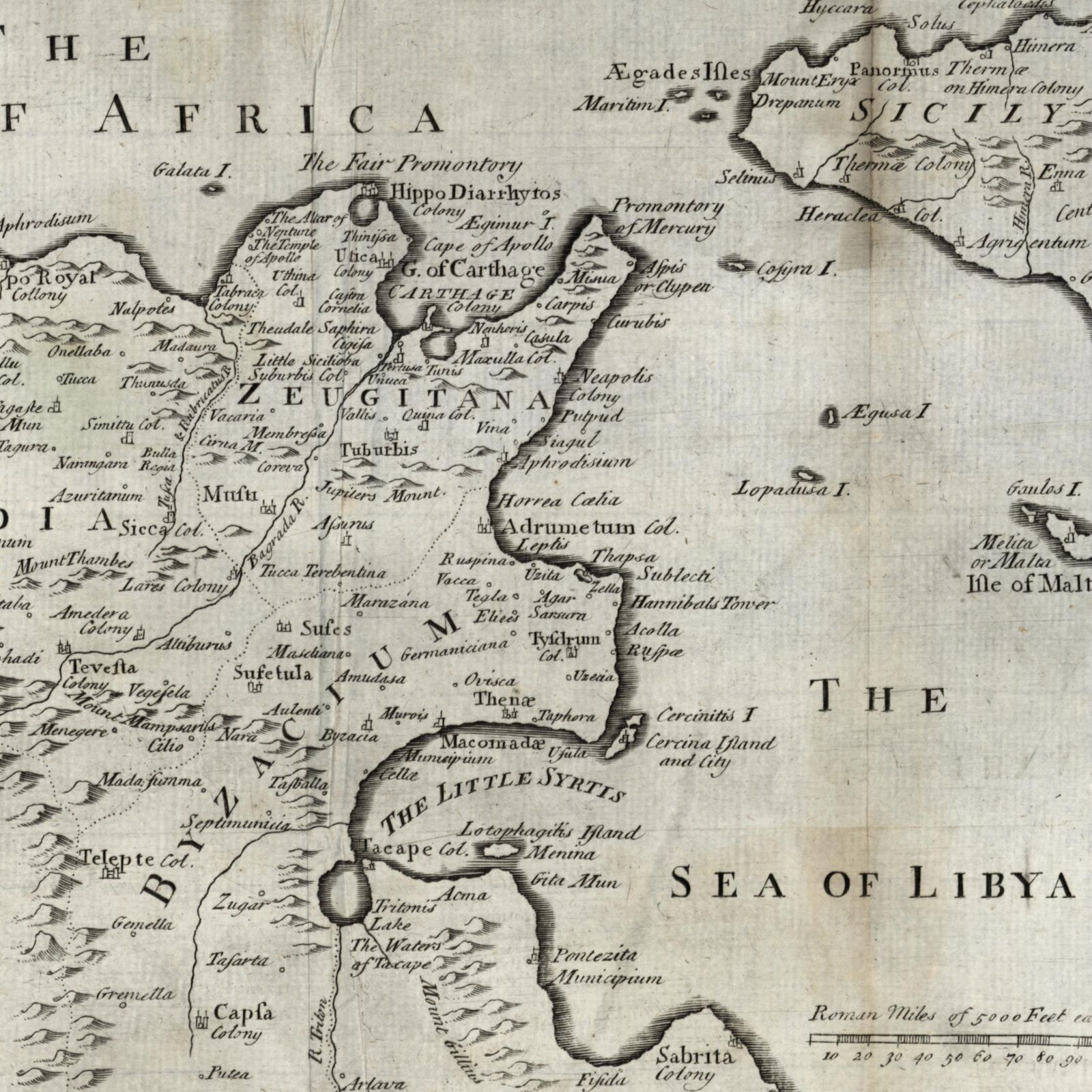 Northern Africa Tunisia Sicily c.1790 Sea of Libya engraved old map on