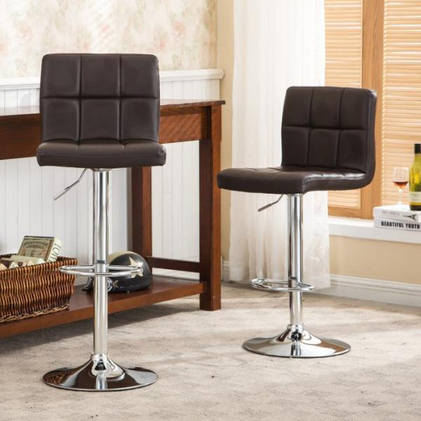 Admirable Details About Set 2 Brown Air Lift Adjustable Stools Faux Leather Seat Swivel Chrome Bar Chair Theyellowbook Wood Chair Design Ideas Theyellowbookinfo