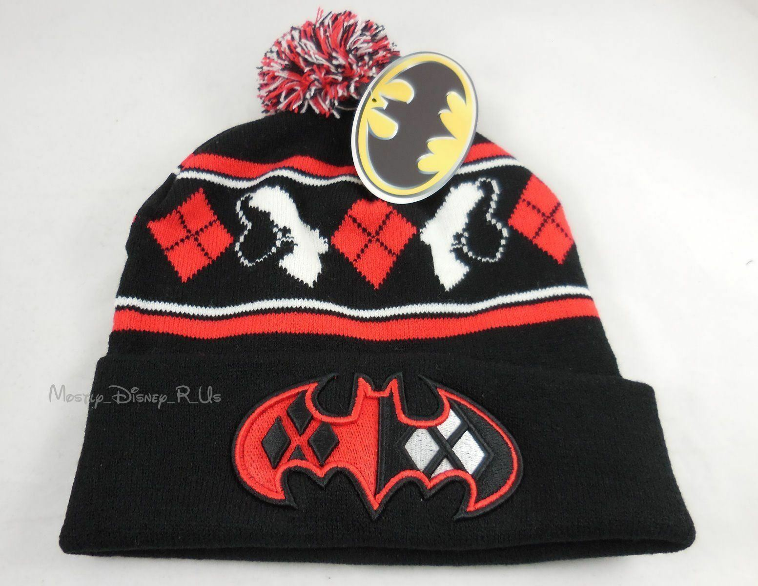 23d2db61021 Details about New DC Comics Batman Harley Quinn Embroidered Knit Fold Over Pom  Beanie Hat