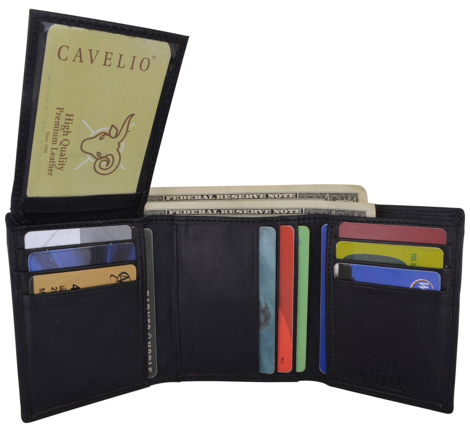 trifold mens premium leather flip up 2 id windows card holder wallet