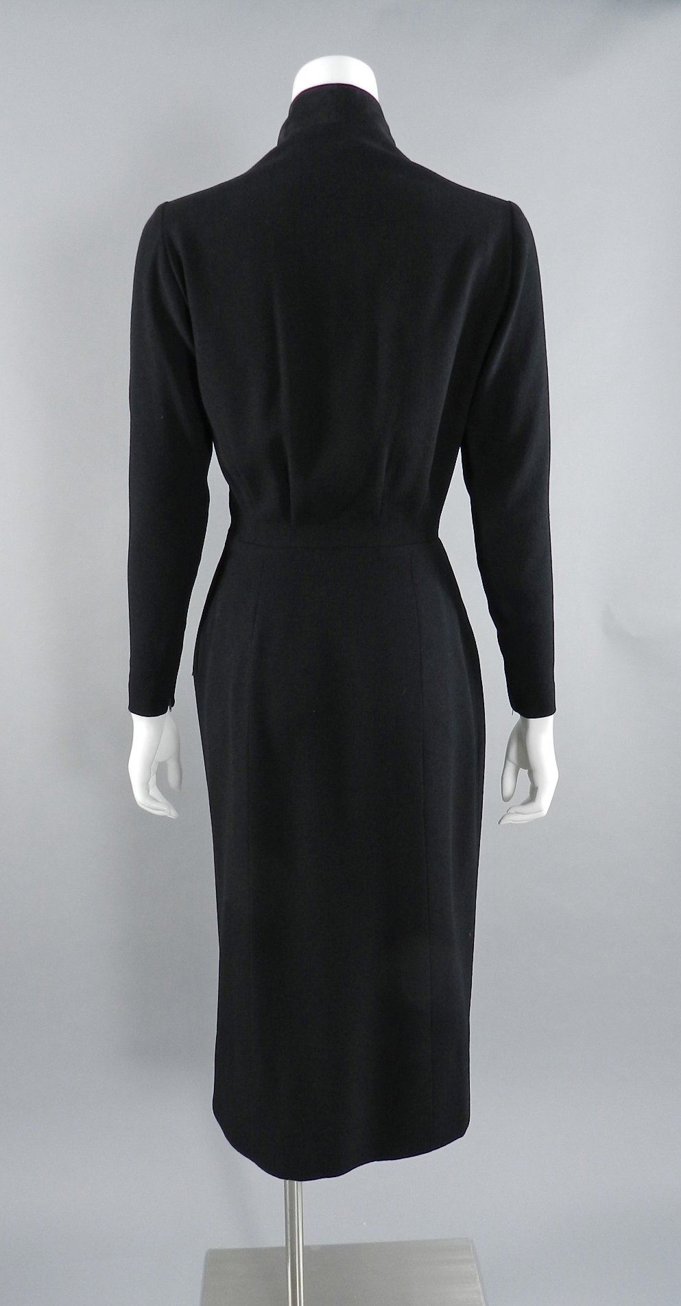 c9eb9c04d20 Pierre Balmain 1950 s Haute Couture Black Wool Dress