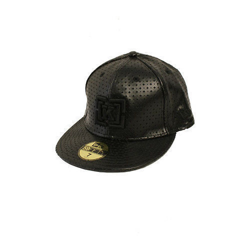 KR3W Cap Semilla Black FlexFit 7 Perf Leather Era Krew Clothing Skateboard Hat