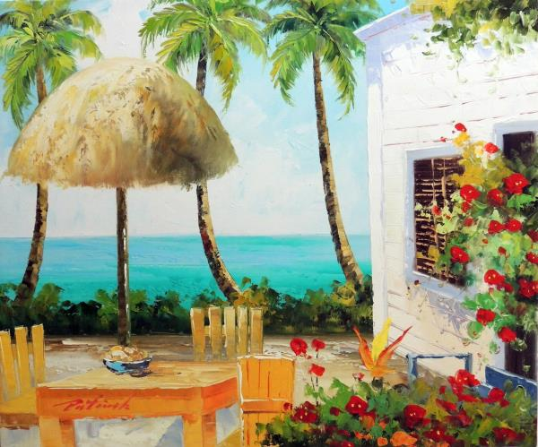 Beach House Patio Palms Flowers Caribbean Hawaii Stretched 20X24 Oil  Painting