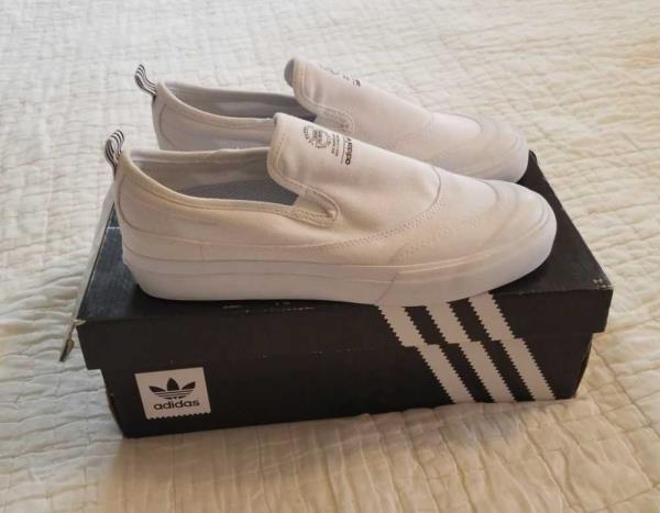 factory price aa3a2 08d54 Details about NEW MEN'S 10 11 12 13 ADIDAS MATCHCOURT SLIP ON OFF-WHITE  SKATE SHOES