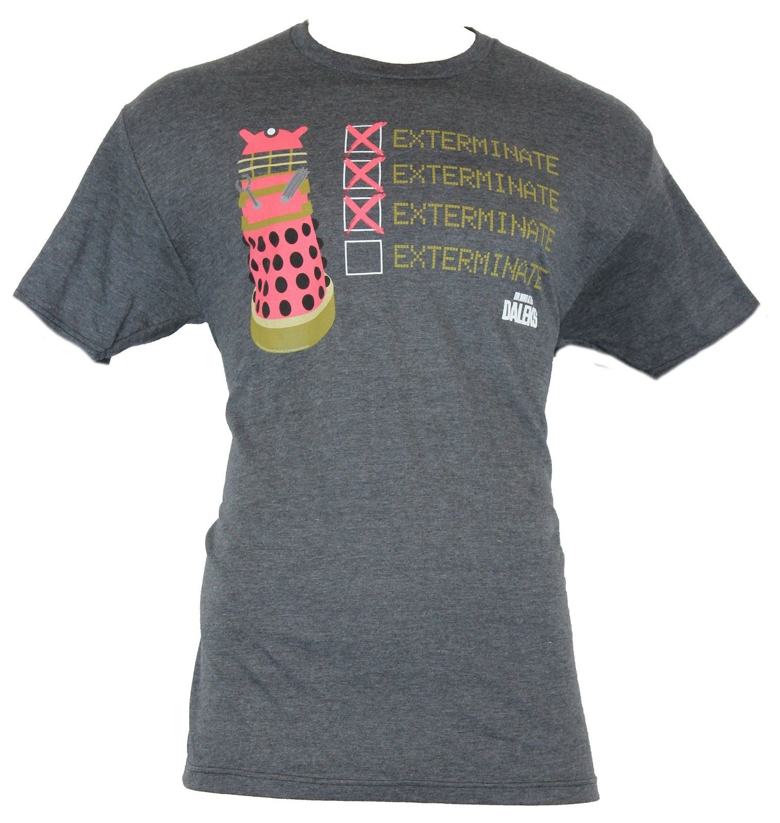 DOCTOR WHO GREY DALEK TEE T SHIRT EXTERMINATE SIZE MEDIUM AND LARGE
