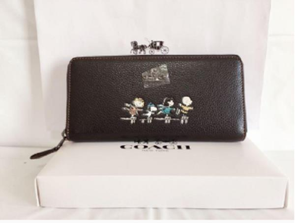 dacfed2d1f Details about COACH x PEANUTS wallet BLACK LEATHER SNOOPY ACCORDION ZIP  AROUND WALLET 16122
