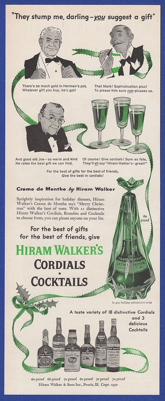 Details about Original Vintage 1950 HIRAM WALKER'S Cordials Cocktails  Whiskey Print Ad 1950's